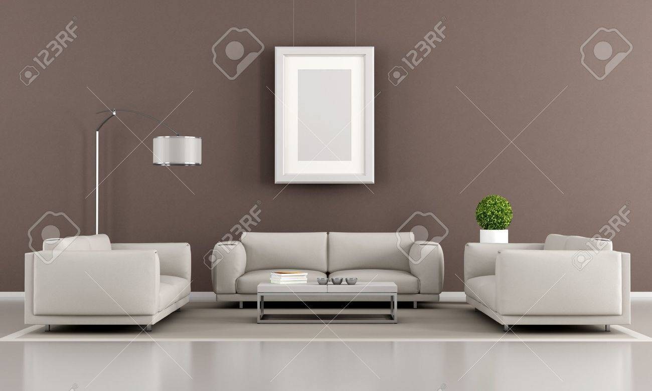 Contemporary Livingroom With Two Armchair And Sofa   Rendering Stock Photo    16852780
