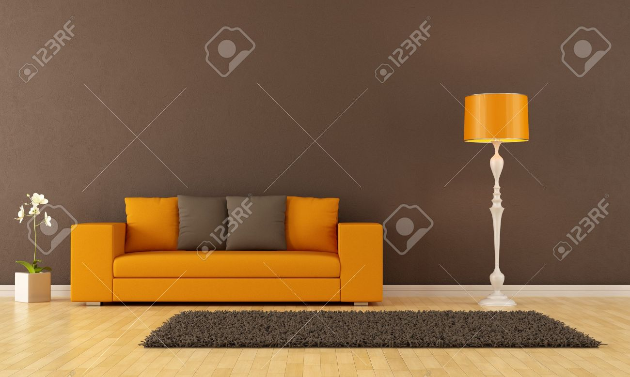Orange And Yellow Living Room Brown Living Room With Orange Couch Rendering Stock Photo