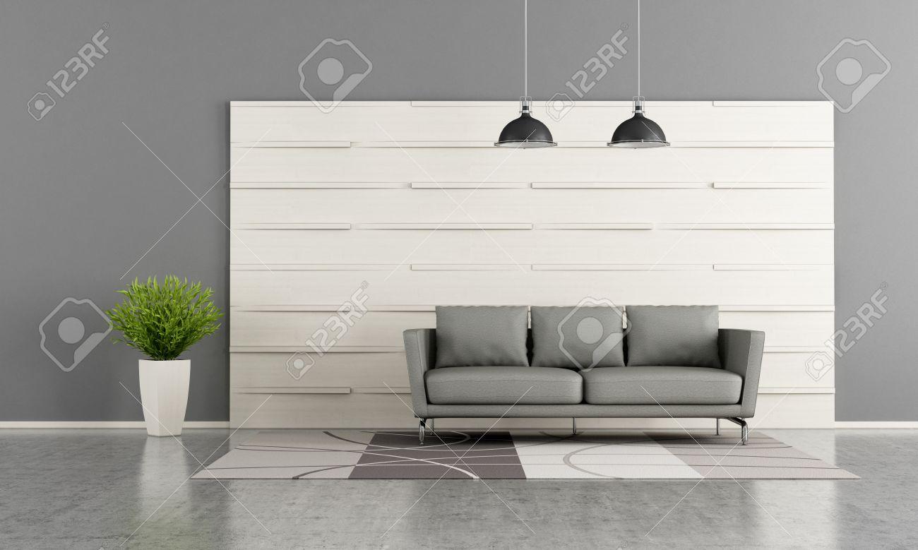 Salon Moderne Avec Panneau En Bois Blanc Et Un Canapé Gris Rendu