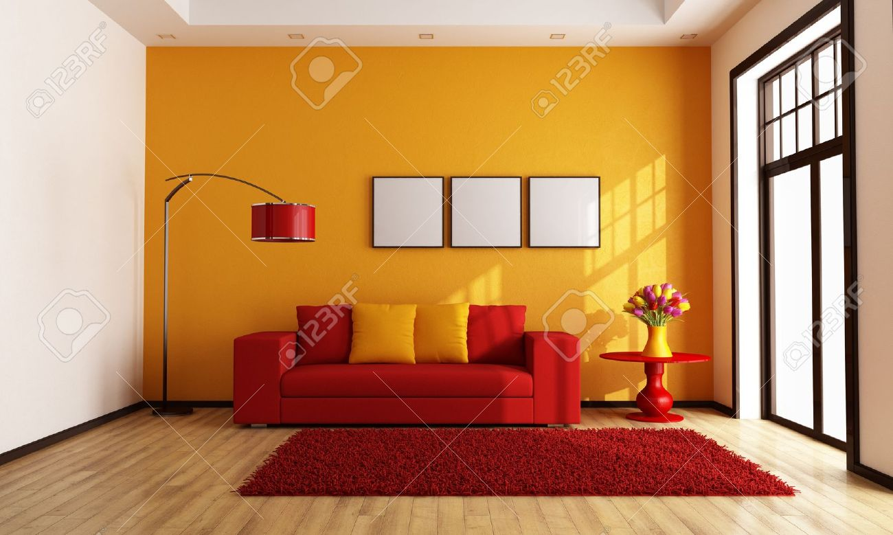 Modern red and orange living room rendering stock photo 17331650