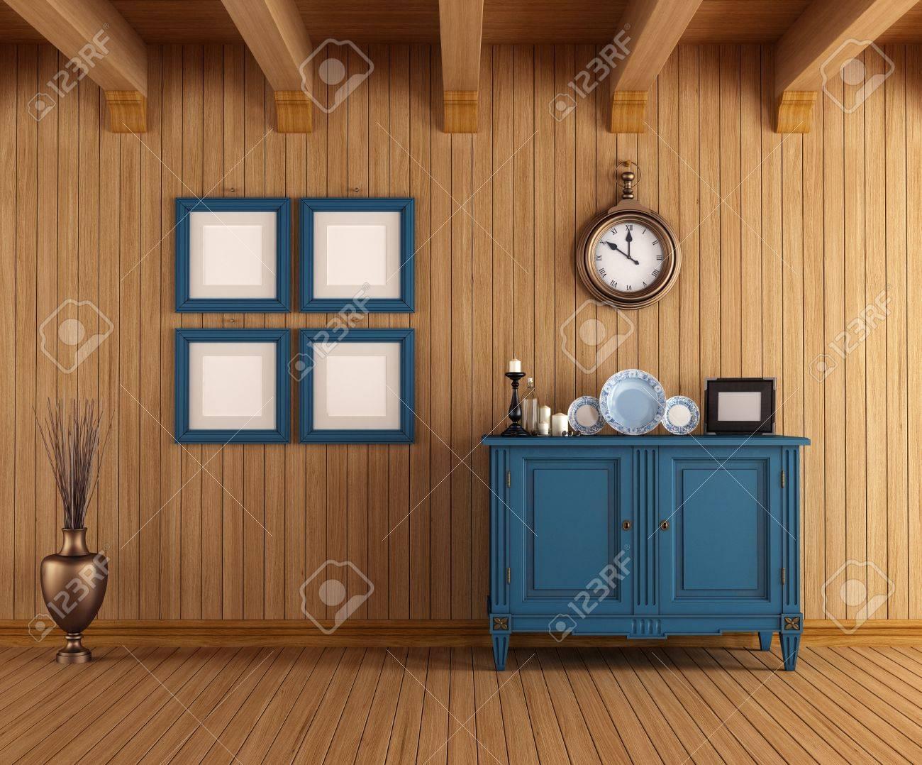 Case Di Campagna Interni : Immagini stock interni in legno di una casa di campagna con comò
