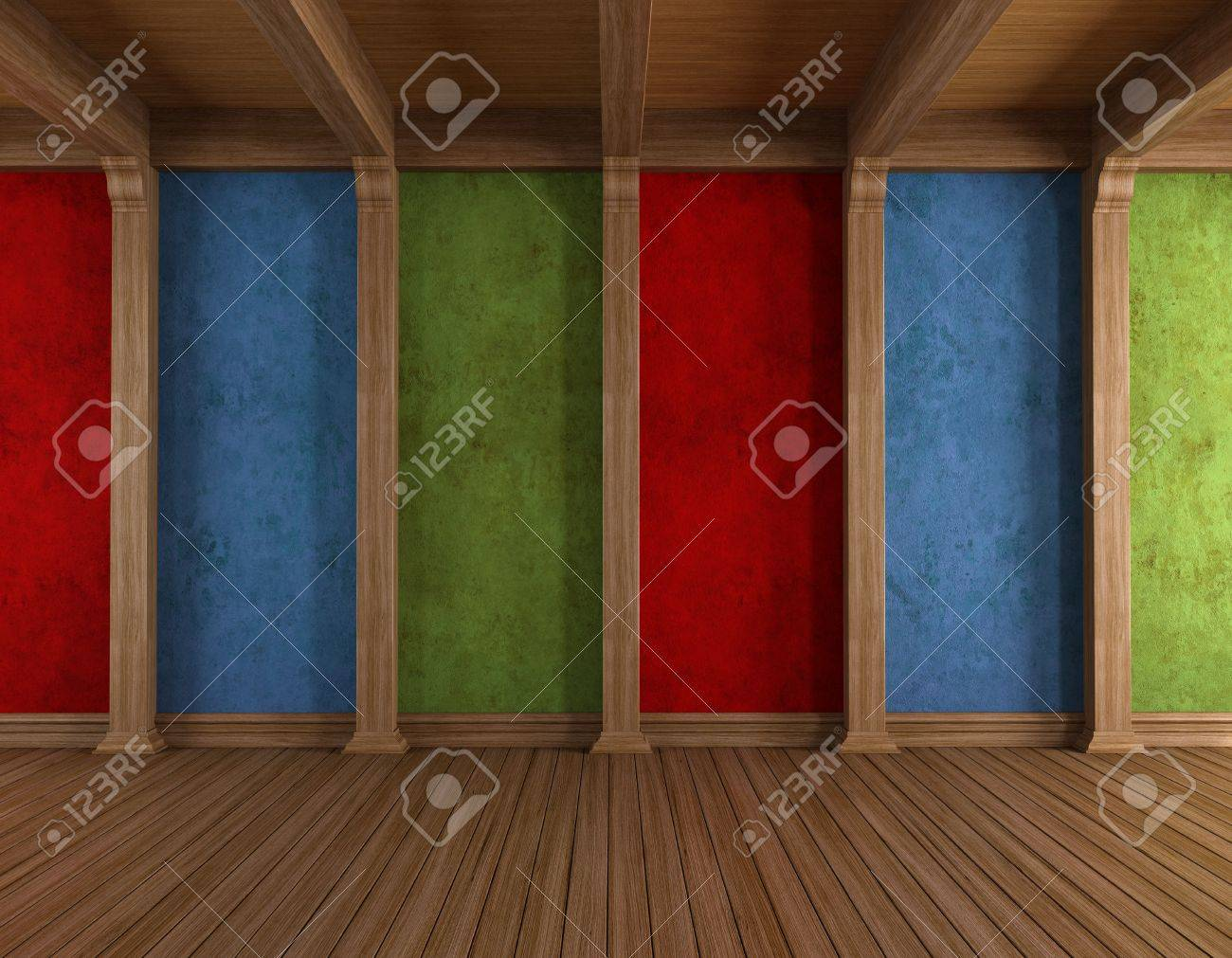 Vintage wooden room with colorful grunge walls - rendering Stock Photo - 17671075