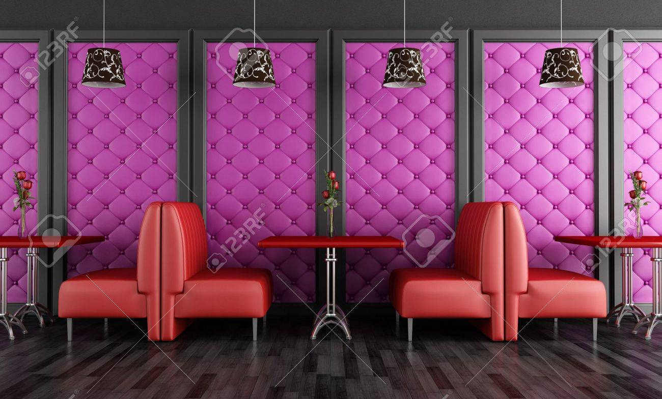 red and purple fashion cafe-bar - rendering stock photo, picture