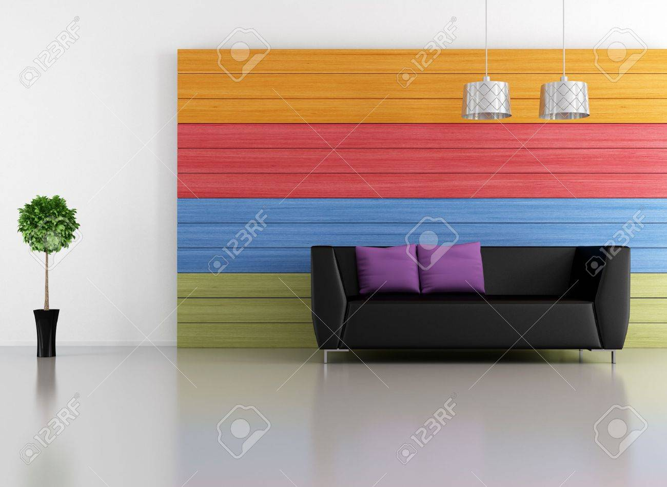 black couch in a minimalist living room with colorful wooden  panel - rendering Stock Photo - 17671064