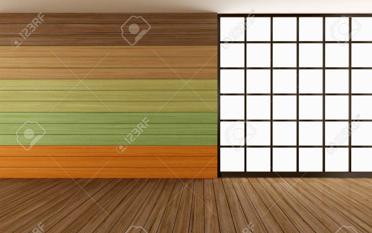 empty wooden room with colorful panel and window - rendering Stock Photo - 17671062