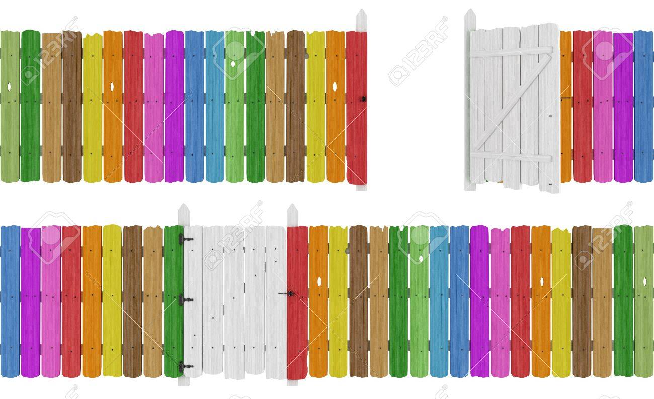 Colorful wooden fence with open and close gate  isolated on white - rendering Stock Photo - 17928927