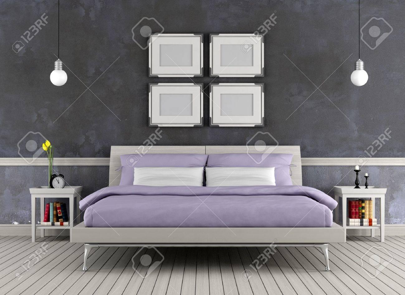 Moderne Lit Double Dans Une Chambre Vintage - Rendu Banque D ...