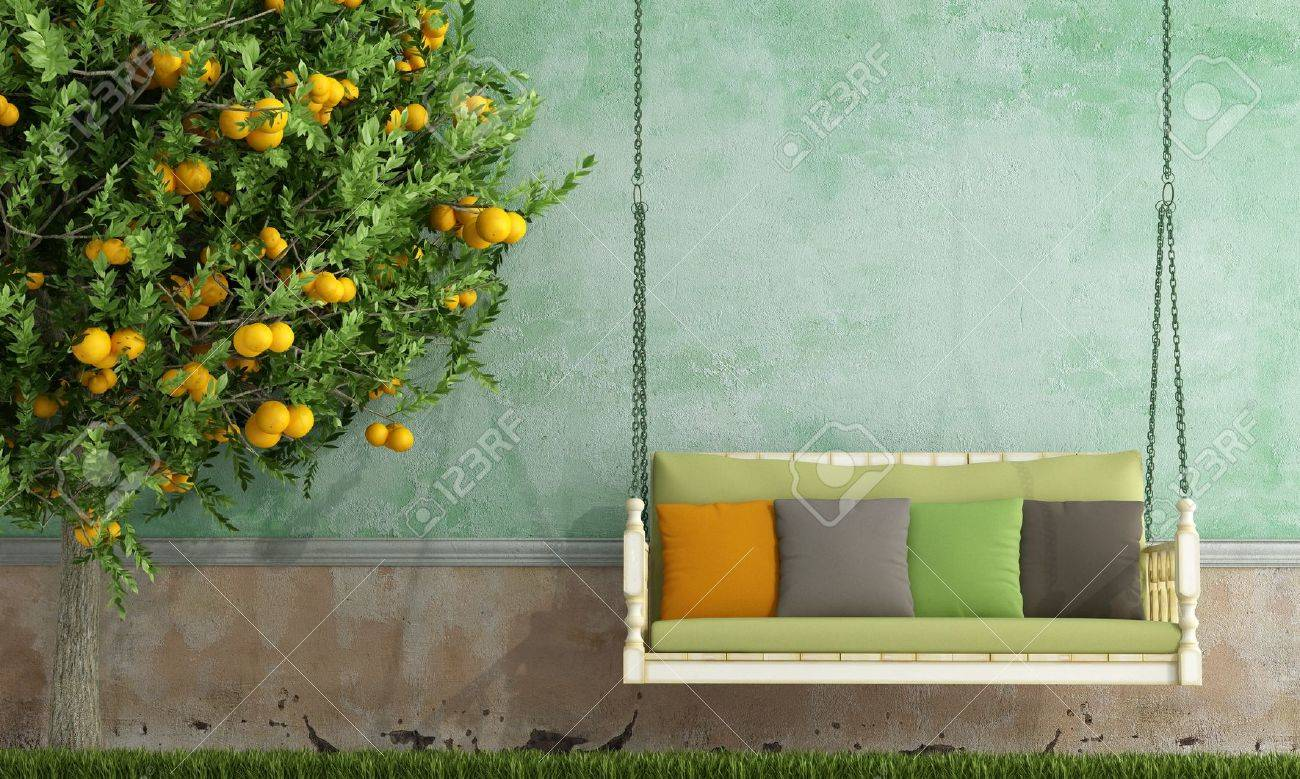 Old garden house - Vintage Wooden Swing In The Garden Of An Old House Rendering Stock Photo 18265670