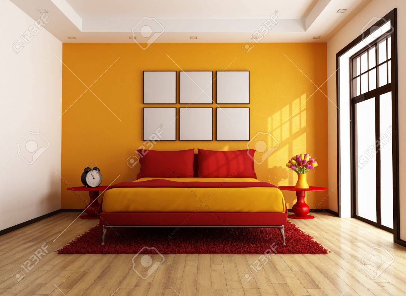 moderna camera da letto rosso e arancione - rendering - foto ... - Camera Da Letto Arancione