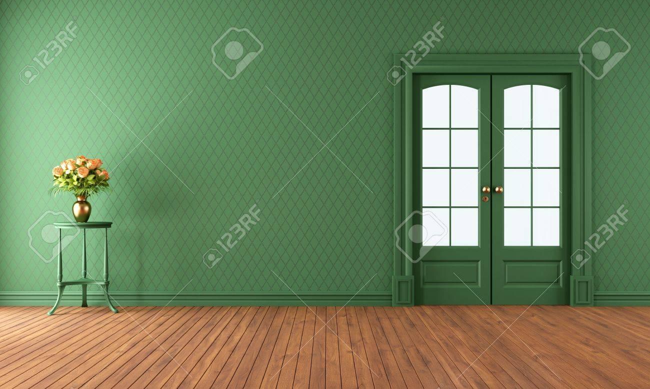 Leere Vintage Wohnzimmer Mit Schiebetur Rendering Lizenzfreie