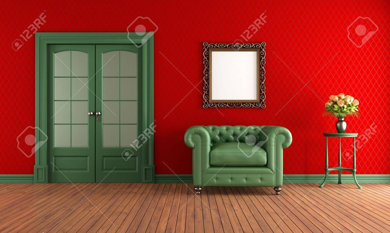 Red And Green Vintage Room With Armchair And Sliding Door Stock ...