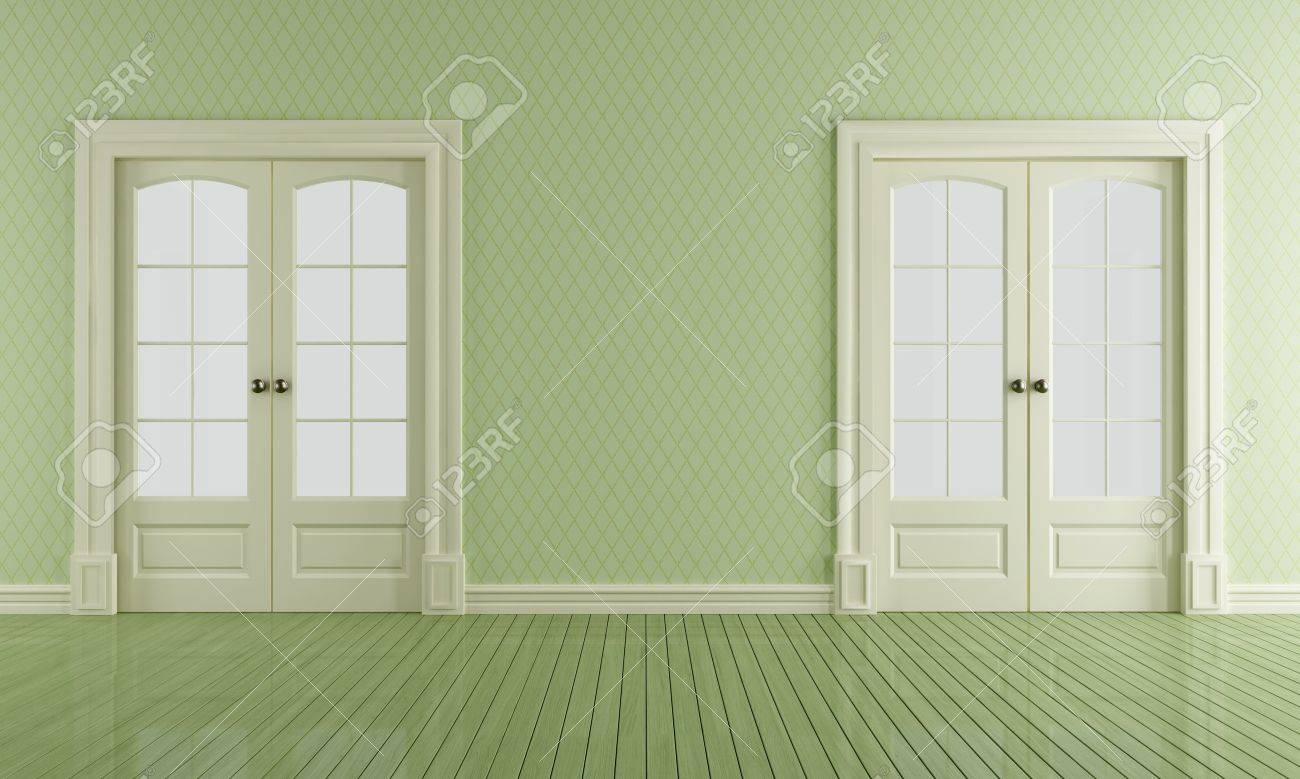 Two White Sliding Doors I N A Empty Vintage Room Stock Photo