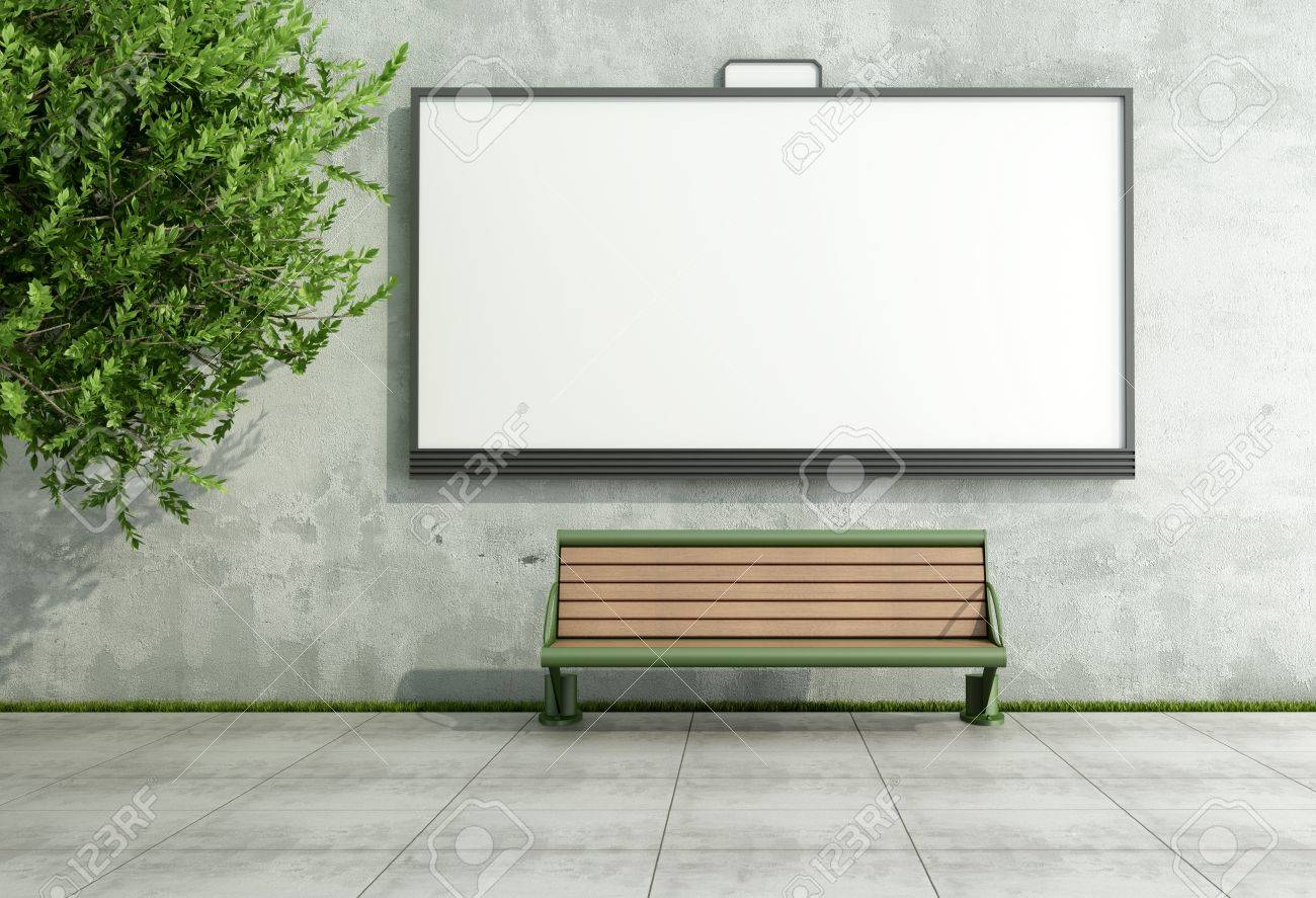 Blank street bilboard on grunge wall with bench - rendering Stock Photo - 18812936