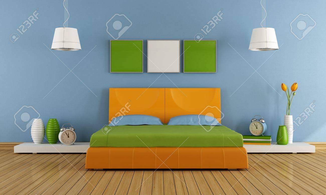 Contemporáneo Dormitorio Con Cama De Matrimonio Colorido ...