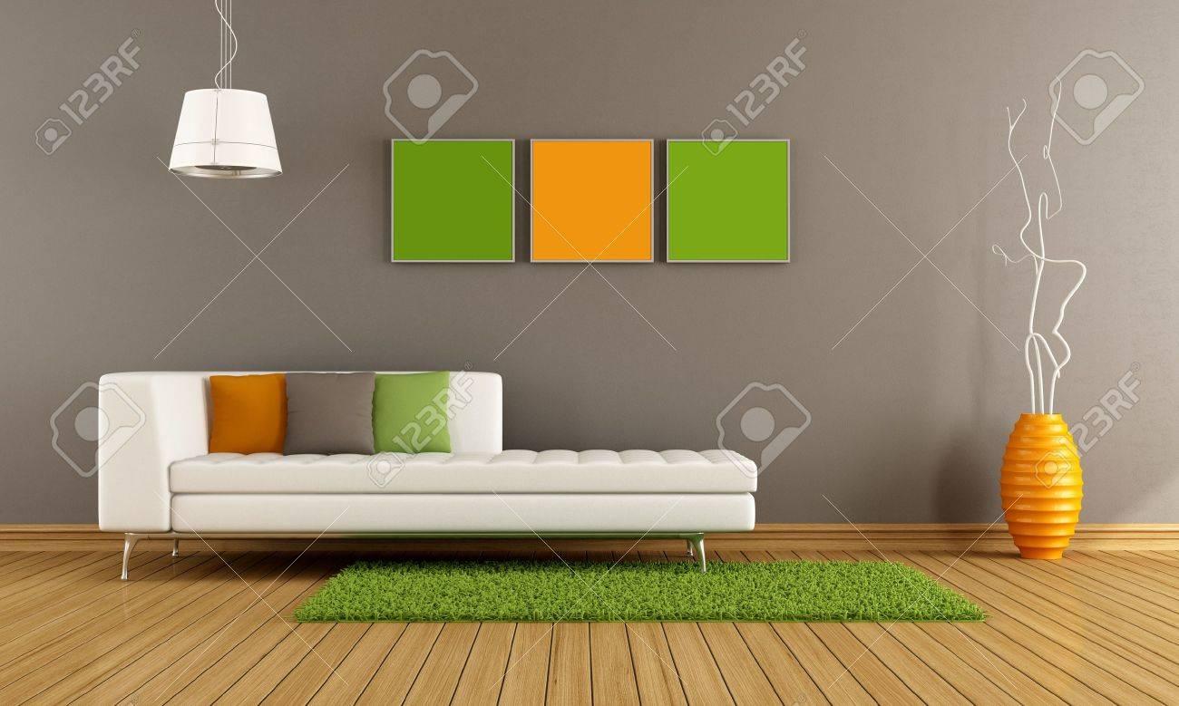 Moderne Wohnzimmer Mit Weissen Couch Und Bunte Kissen