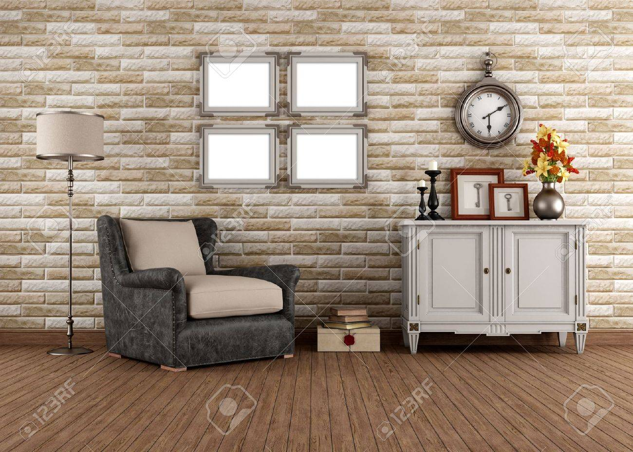 Vintage Living Room With Armchair And Dresser - Rendering Stock ...