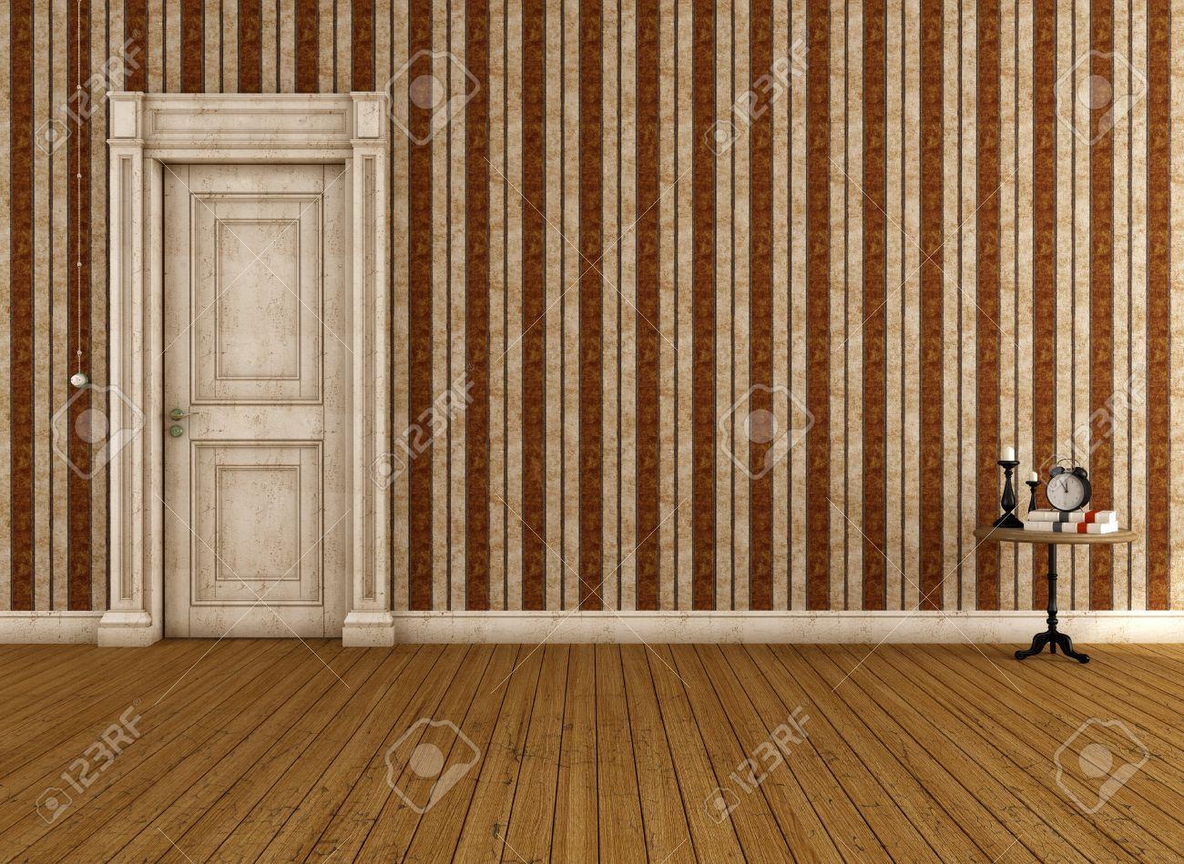 ストライプの壁紙と汚いドア ビンテージ空部屋のレンダリング の写真素材 画像素材 Image