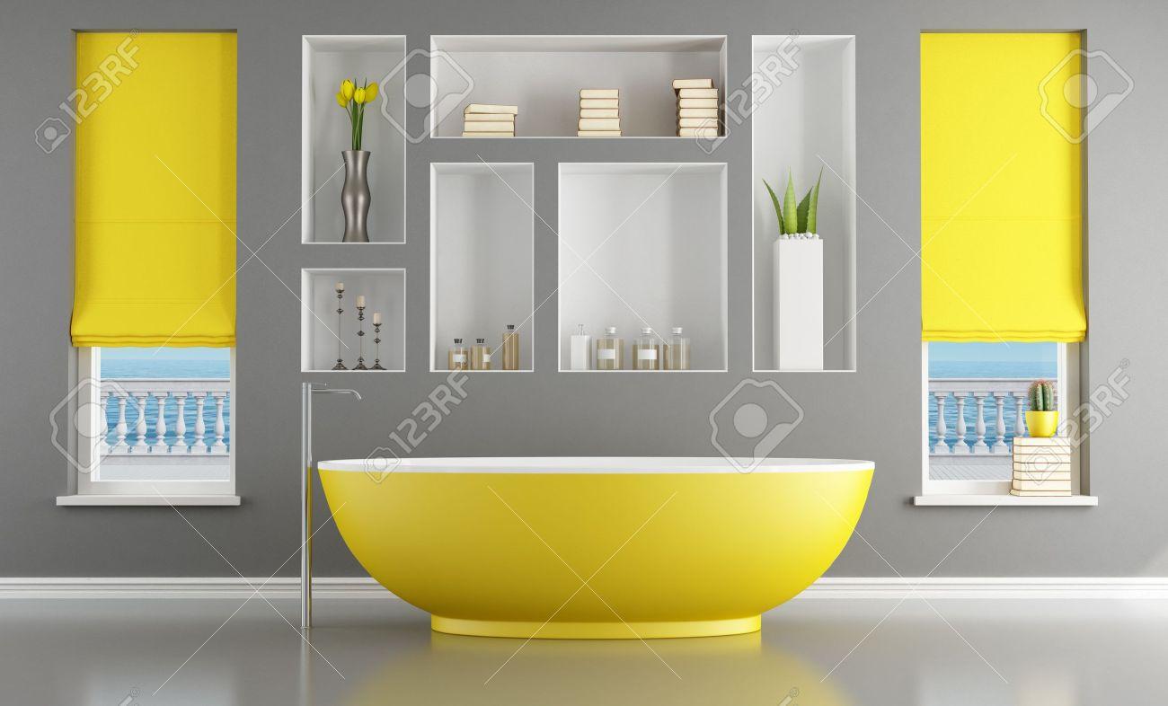 Cuarto de baño moderno gris y amarillo   representación   es la ...