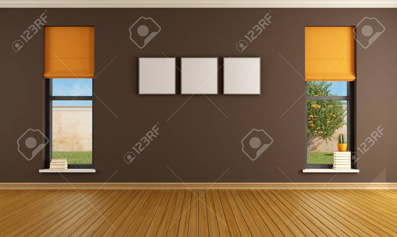 Brown empty room with two windows - rendering- the image on background is a my rendering composition Stock Photo - 19384699