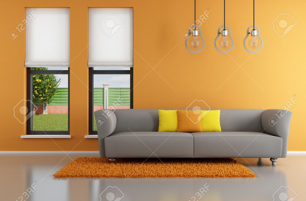 Minimalist orange living room with gray sofa   rendering  the image on  background is aMinimalist Orange Living Room With Gray Sofa   Rendering  The  . Gray And Orange Living Room. Home Design Ideas