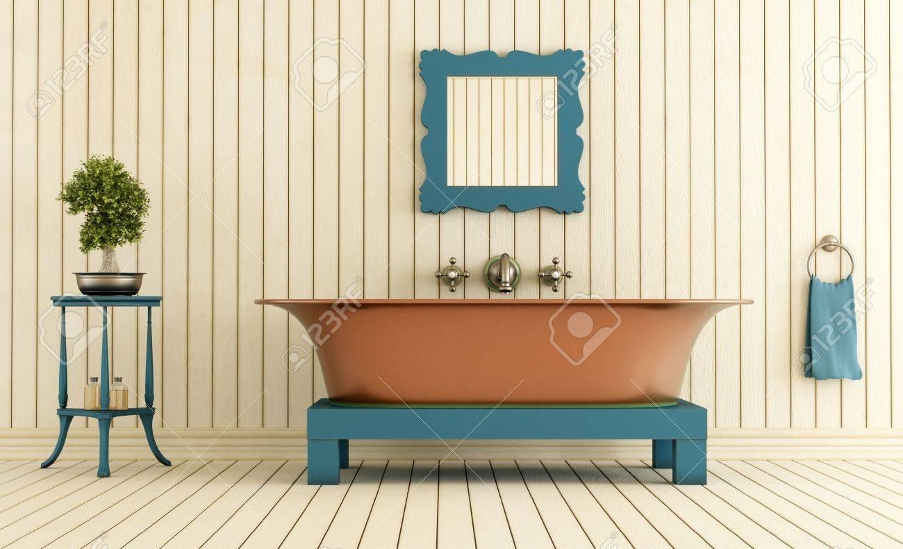 Vintage Bathroom With Copper Bathtub - Rendering Stock Photo ...