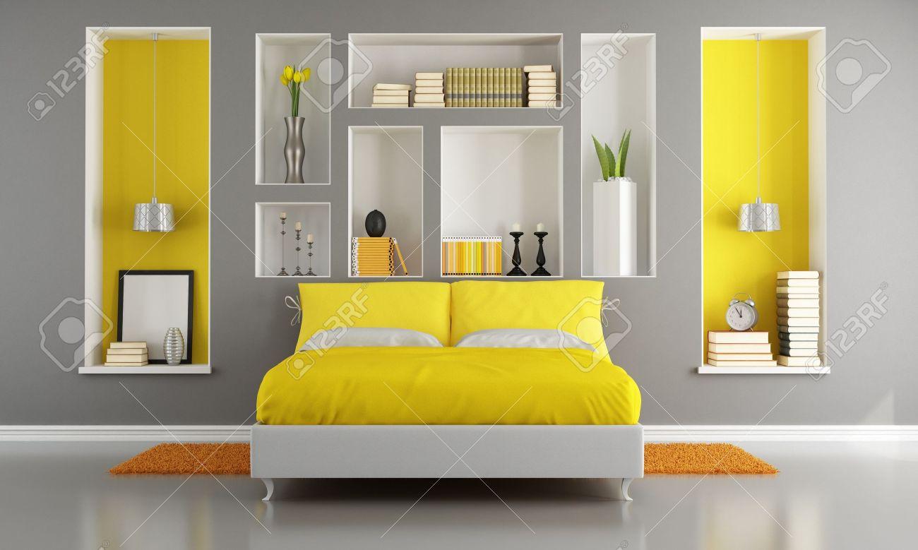 giallo e grigio camera da letto moderna con letto matrimoniale e
