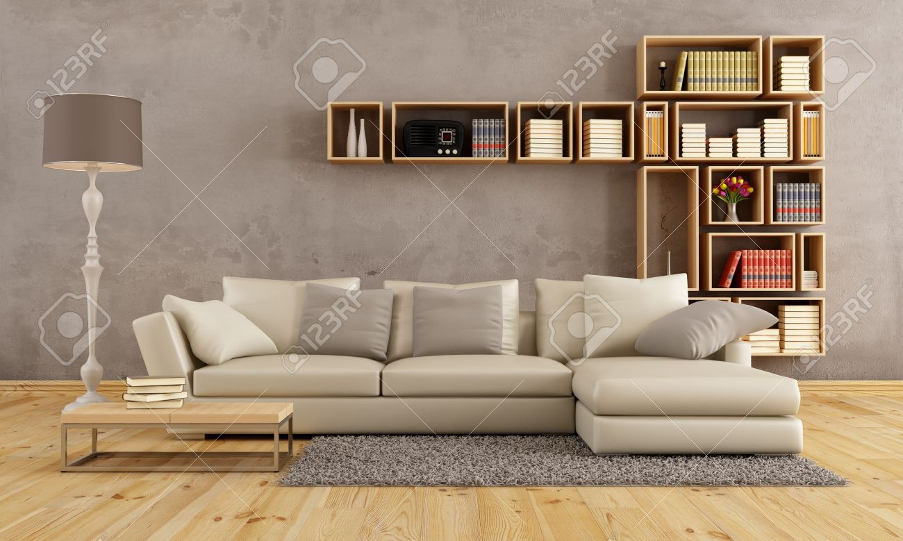 Living Room With Elegant Sofa And Wall Bookcase - Rendering Stock ...