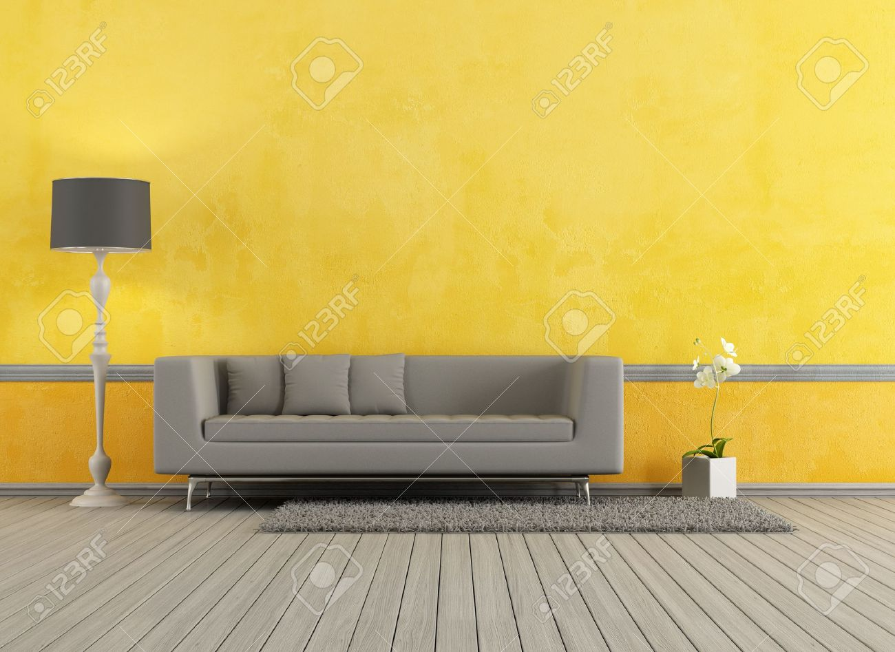 Gray modern sofa in a yellow living room rendering stock photo 19662174