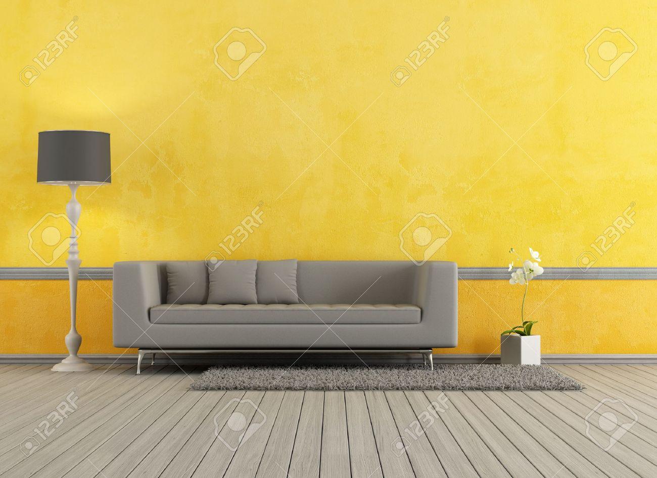 Canapé Moderne Gris Dans Un Salon Jaune - Rendu Banque D\'Images Et ...