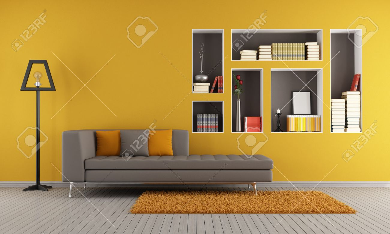 Colorful Living Room With Sofa And Niches Used As A Bookcase