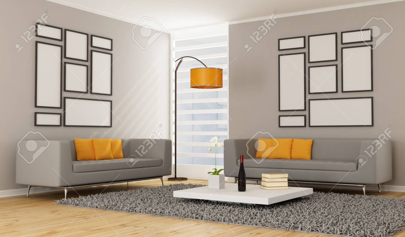 Living Room Two Sofas In Living Room contemporary living room with two sofa rendering stock photo rendering