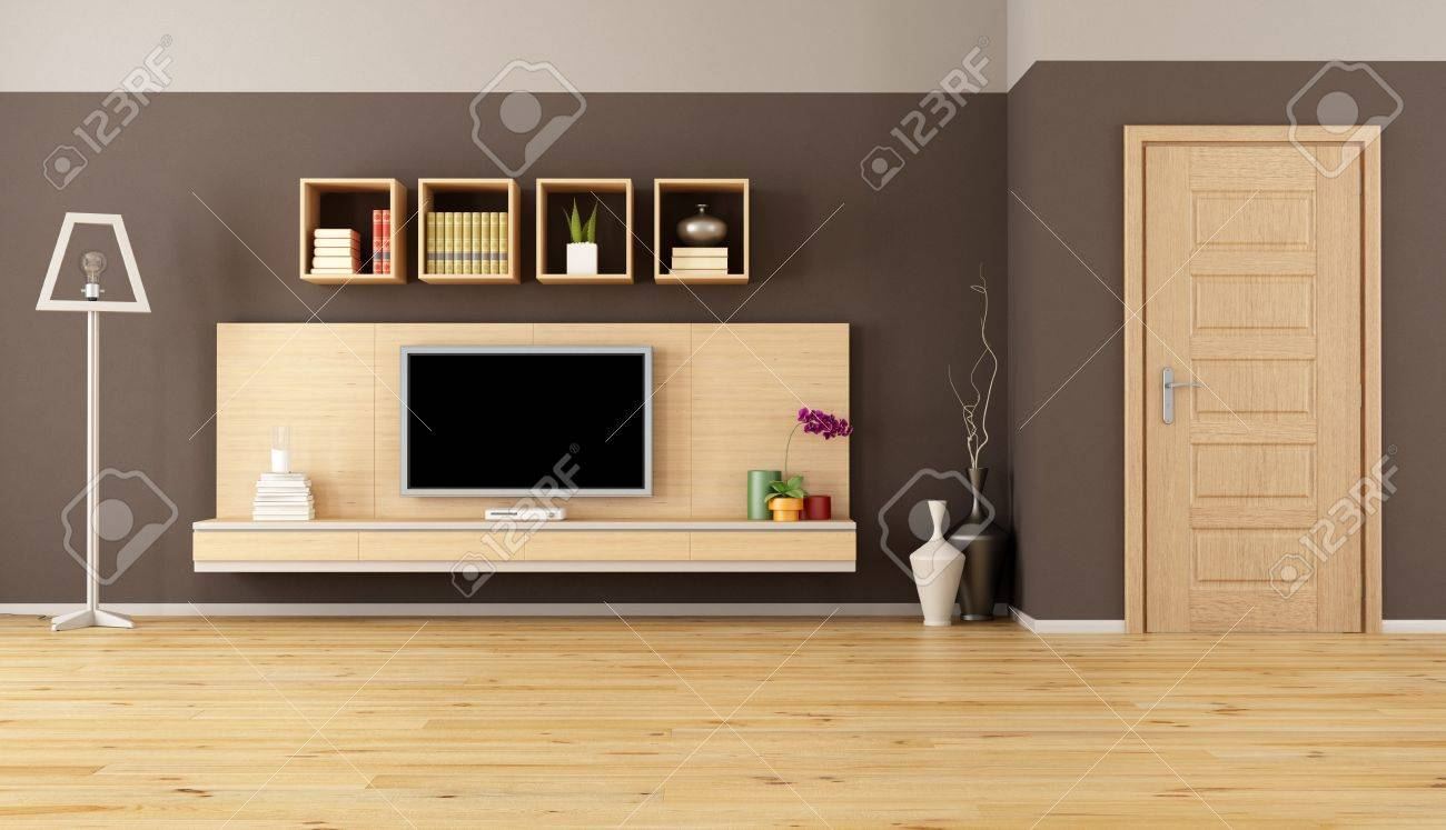 Minimalist Living Room With Cabinet Shelves And Led Tv Stock Photo