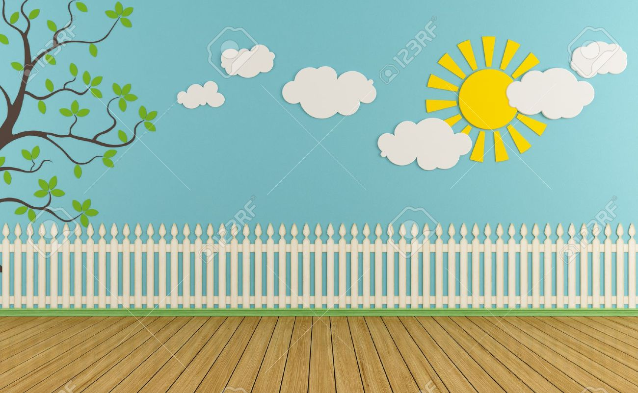 Empty Child Room With Wooden Fence,sun,clouds And Grass On Blue Wall