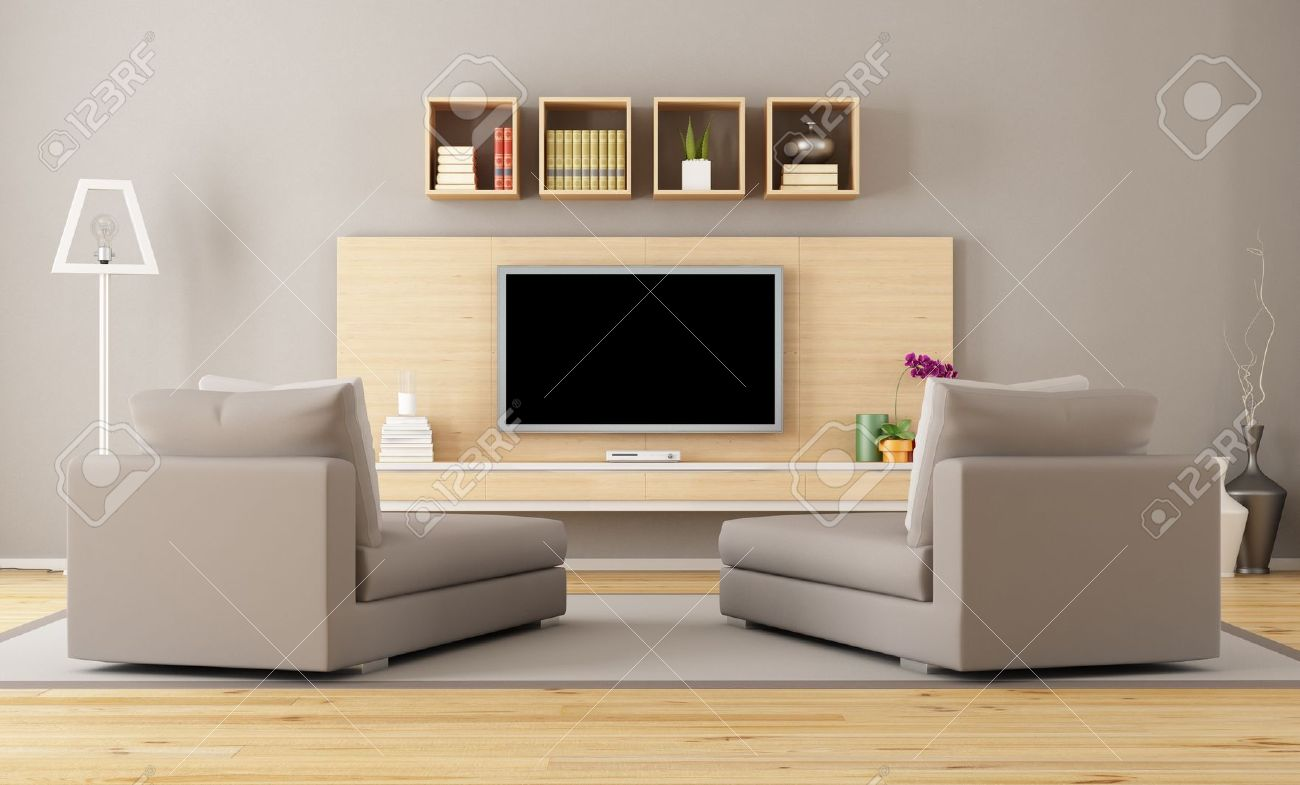 Cntemporary Living Room With Tv Rendering Stock Photo Picture And Royalty Free Image Image 20669378