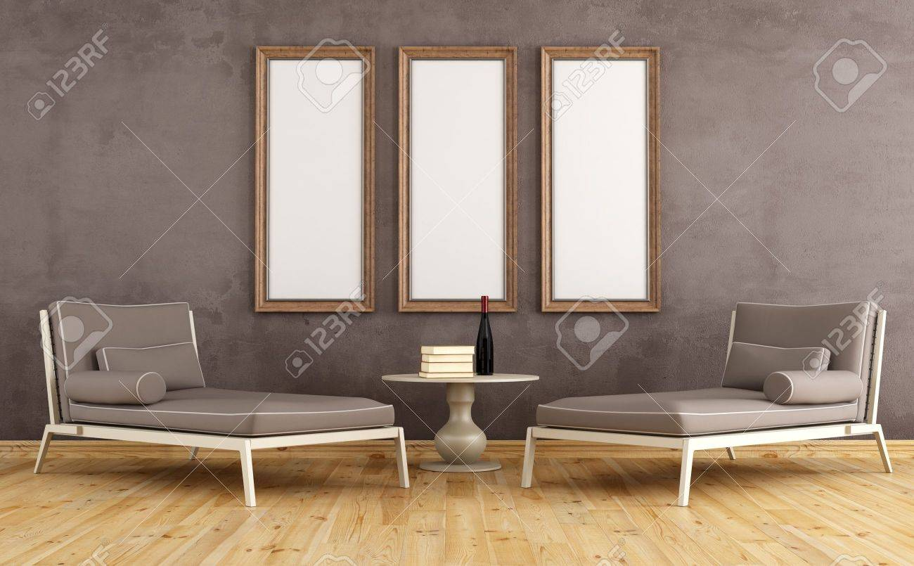 stock photo two modern couch against grunge wall with empty frames rendering