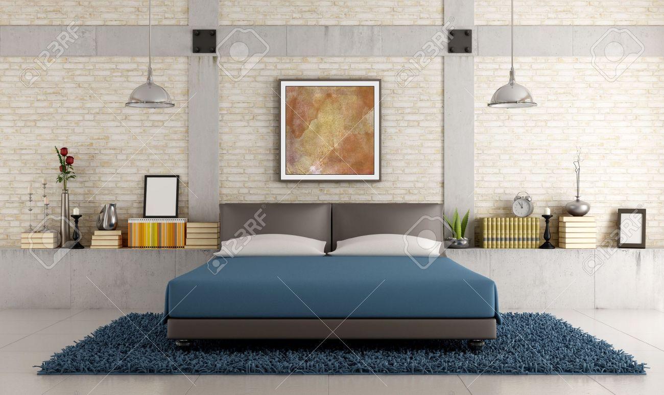 Chambre à Coucher Contemporaine Dans Un Loft Avec Mur De Briques ...