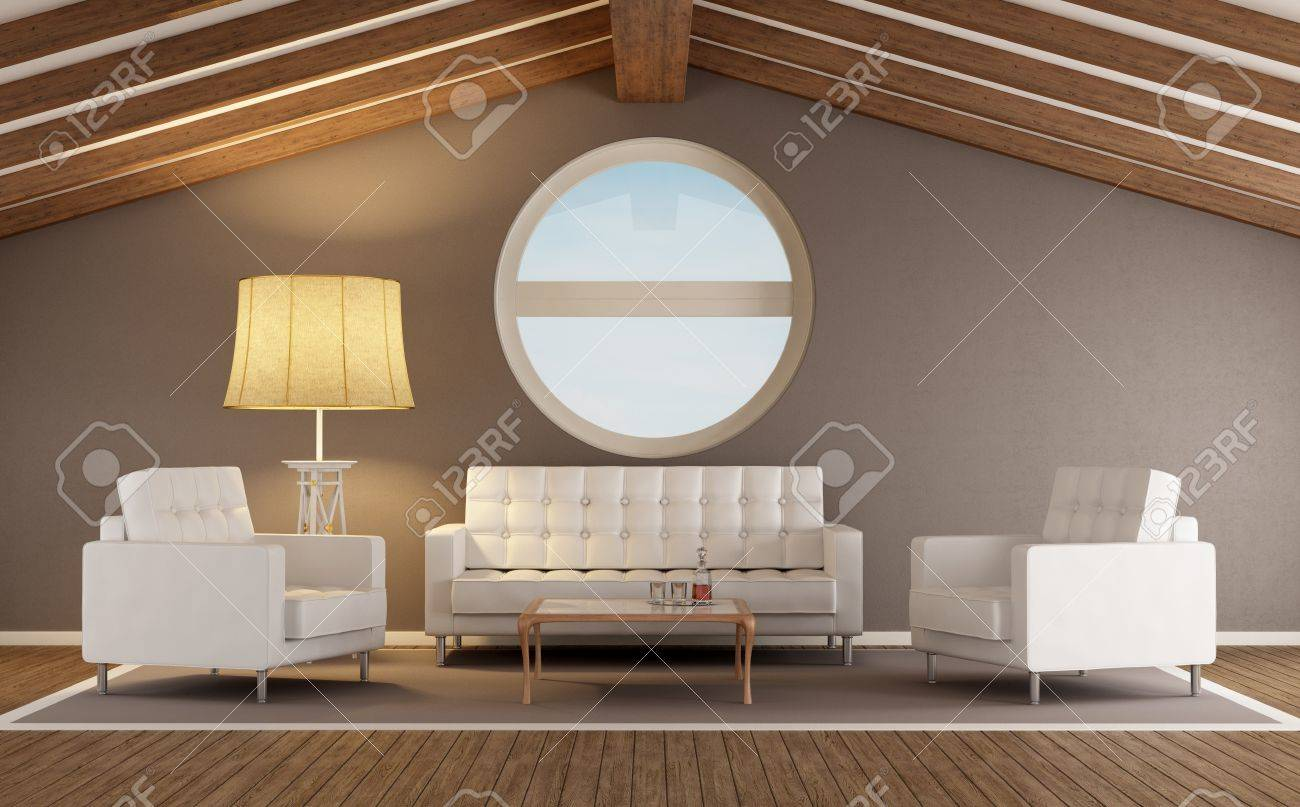 Modern Living Room In An Attic With Wooden Roof And Round Window Stock Photo Picture And Royalty Free Image Image 20669419