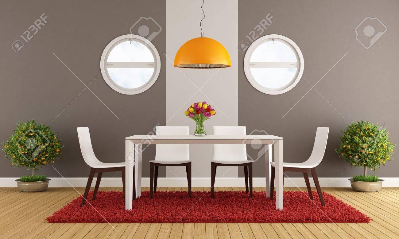 Comedor contemporáneo con mesa blanco - representación