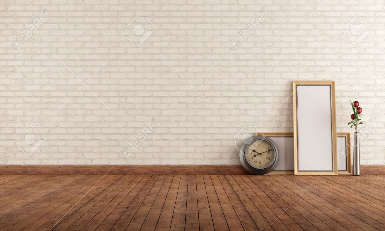 Exceptional Empty Vintage Interior With Brick Wall, Clock And Blank Frame On The Floor    Rendering