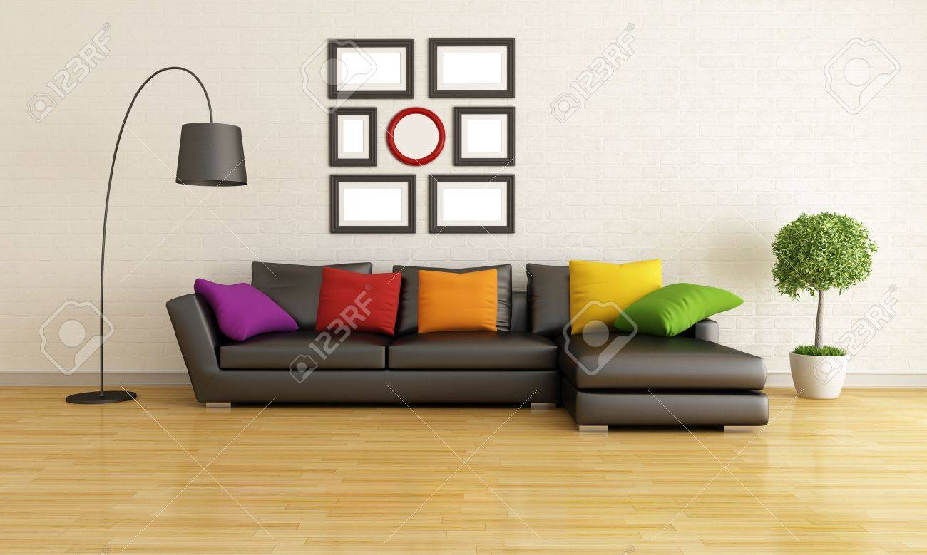 Modern Living Room With Black Sofa And Colorful Cushion - Rendering ...