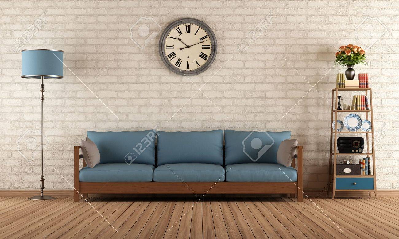 Vintage Living Room With Wooden Sofa