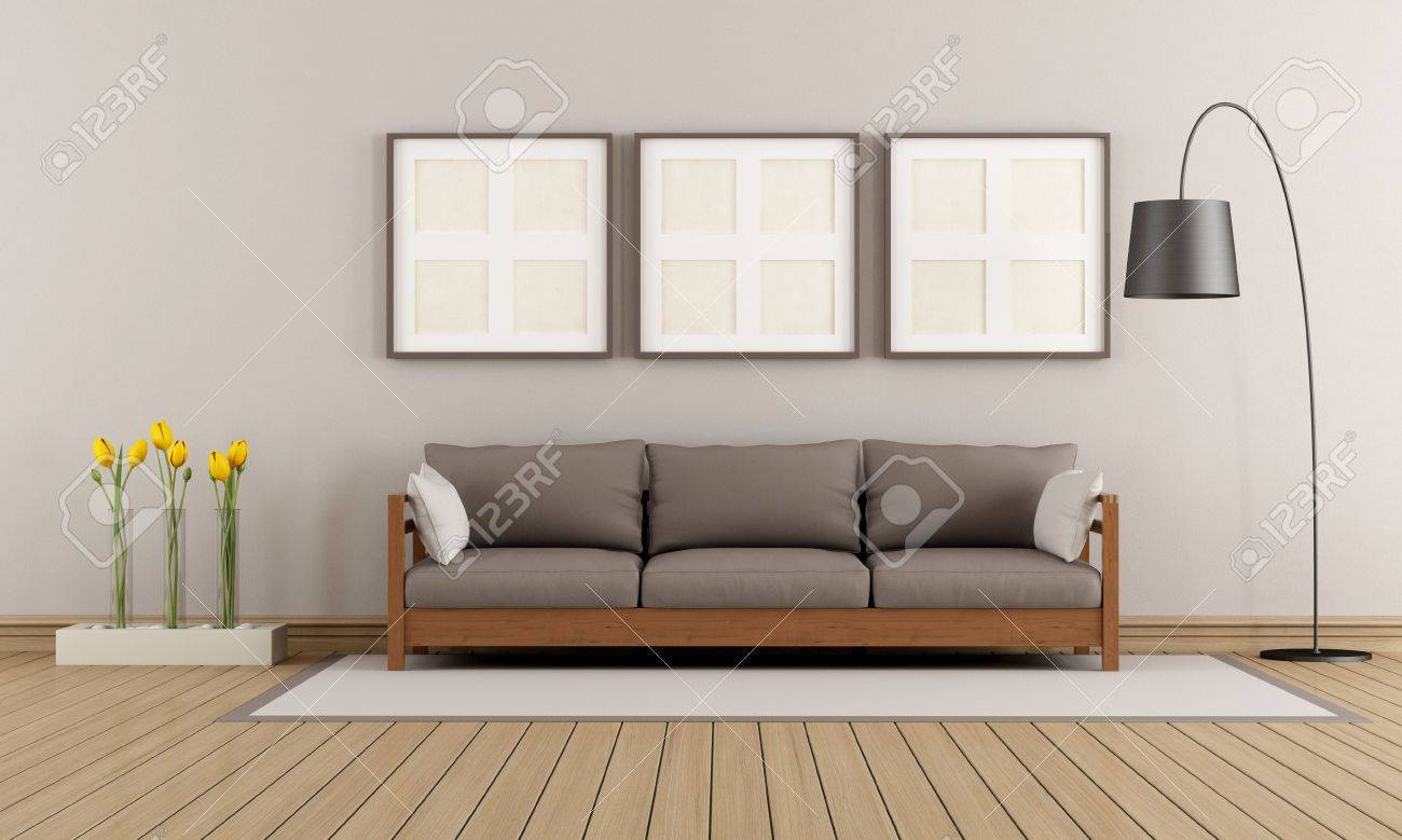 Modern lounge with wooden sofa on carpet - rendering