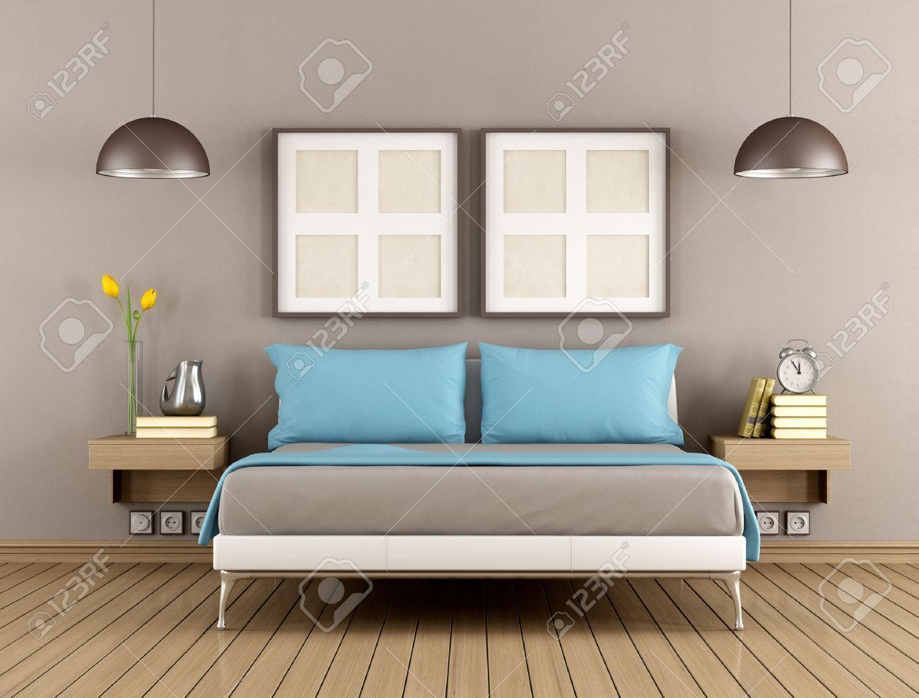 Chambre à coucher contemporaine avec lit double - rendu
