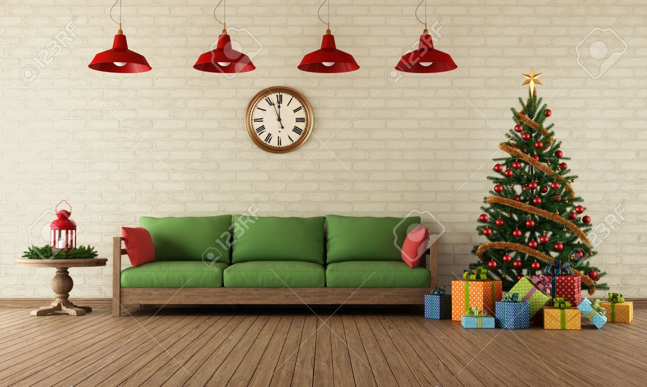 Living Room With Sofa, Colorful Gifts And Christmas Tree In Vintage ...