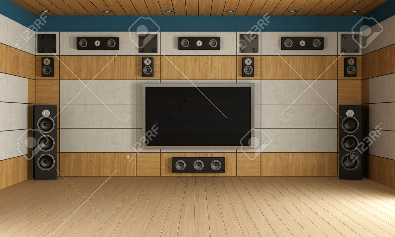Modern Home Theater Room Without Furniture Rendering Stock Photo