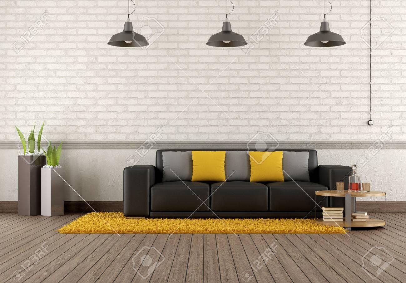 Salon moderne avec canapé marron devant un mur de briques - rendu