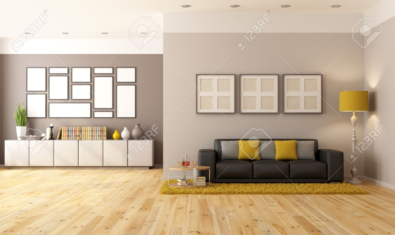 Contemporary Living Room With Brown Sofa And Sideboard - Rendering ...