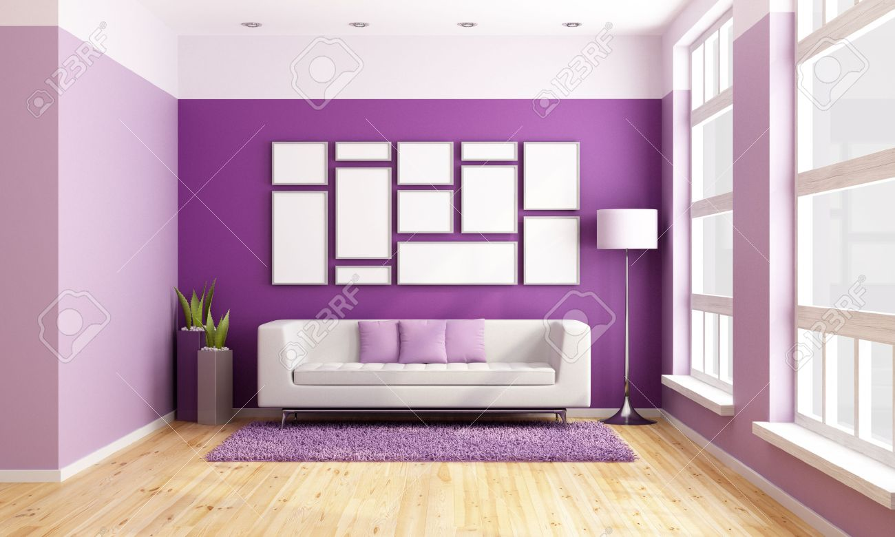 Bright living room with modern couch, purple wall and big wooden windows - rendering Stock Photo - 23081396