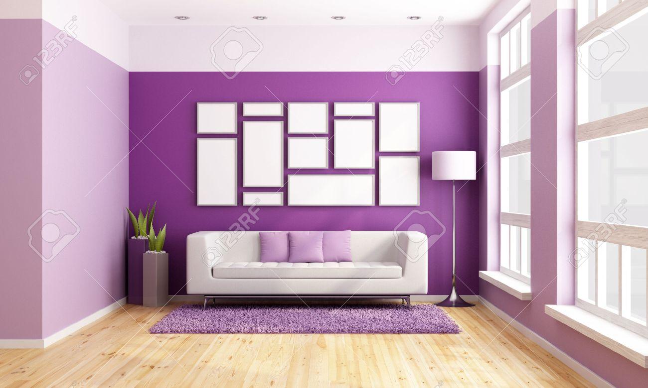 Salon Lumineux Avec Canape Moderne Mur Violet Et De Grandes Fenetres En Bois Rendu