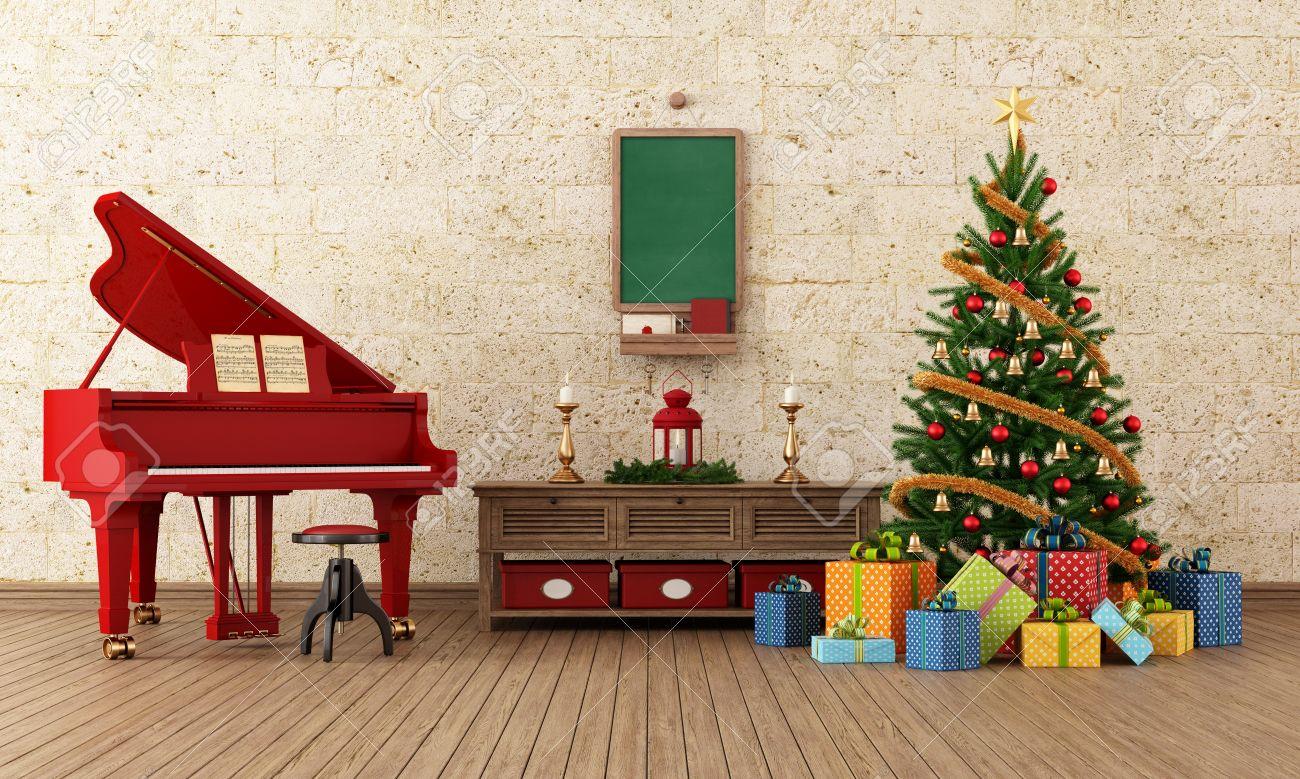 Vintage woonkamer met kerst boom decoratie en rode grand piano ...
